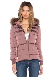 Add Down Jacket With Raccoon Fur Border Rose