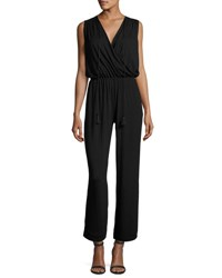 Max Studio Sleeveless V Neck Tassel Jumpsuit Black