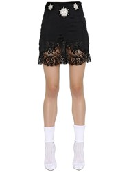 Francesco Scognamiglio Embroidered Crepe And Lace Skirt