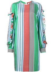 Msgm Ruffled Trim Striped Dress Green