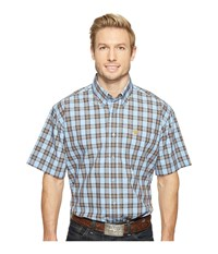Cinch Short Sleeve Plain Weave Plaid Light Blue Men's Clothing