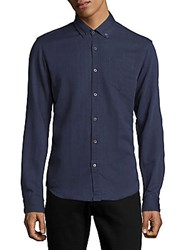 Scotch And Soda Button Down Casual Denim Shirt Dessin Blue