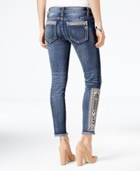Miss Me Embroidered Medium Blue Wash Skinny Jeans