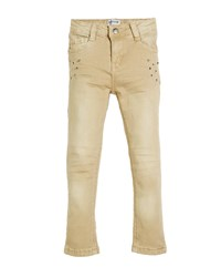 Mayoral Straight Leg Studded Twill Jeans Beige