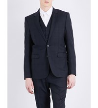 Sandro Prince Of Wales Check Print Tailored Fit Wool Jacket Navy Blue