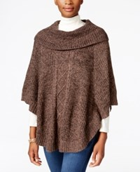 Karen Scott Cable Knit Cowl Neck Poncho Only At Macy's Java Brownie Marl
