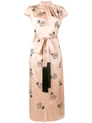 Erdem Long Embroidered Dress Pink And Purple