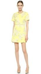 Giambattista Valli Floral Quilted Dress Yellow
