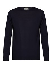 Kilgour Crew Neck Merino Wool Sweater Navy