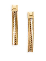 Diane Von Furstenberg Cubism Chain Tassel Drop Earrings Gold