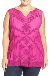 Lucky Brand Plus Size Women's Embroidered Sleeveless Shell