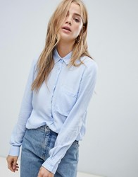 Pull And Bear Pullandbear Long Sleeved Shirt In Blue Pale Blue