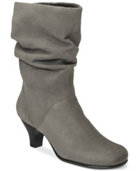 Aerosoles Wise N Shine Slouch Boots Women's Shoes Grey Fabric