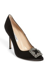 Women's Manolo Blahnik 'Hangisi' Jeweled Pump Black
