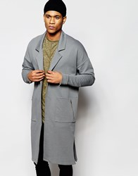 Asos Extreme Longline Oversized Duster Jacket In Grey Grey
