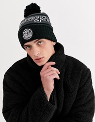 Mitchell And Ness Chicago Bulls Reflective Patch Bobble Beanie In Black
