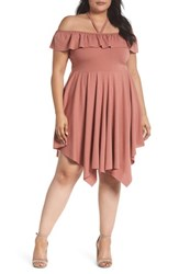 Lost Ink Plus Size Women's Asymmetrical Ribbed Off The Shoulder Dress Blush