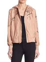 Cinq A Sept Effie Embroidered Hooded Bomber Jacket Rosetta