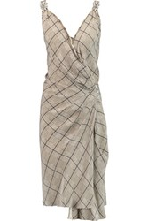 Temperley London Faye Embellished Checked Silk Crepe De Chine Wrap Dress Black