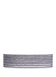 Kenneth Jay Lane Tiered Glass Pearl Collar Necklace Grey