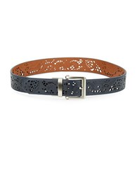 Fashion Focus Laser Cut Reversible Belt Blue