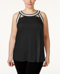 Inc International Concepts Plus Size Embellished Halter Top Only At Macy's Deep Black