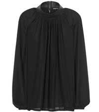Tom Ford Leather Trimmed Silk Blouse Black