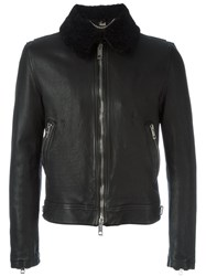 Burberry Brit Shearling Collar Zip Jacket Black