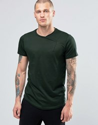 Religion Curved Hem T Shirt With Cross Over Neck Detail Dark Metal Grey