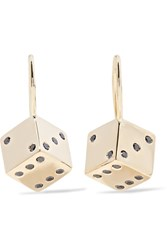 Alison Lou Hasbro Small Dice 14 Karat Gold Diamond Earrings One Size