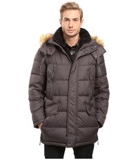 Marc New York Hancock Down Parka W Removable Hood And Fleece Bib Fog Men's Coat Gray