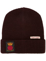 Kent And Curwen Patch Detail Beanie Wool Red