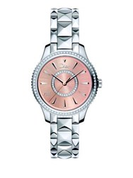 Christian Dior Dior Viii Montaigne Diamond And Two Tone Stainless Steel Automatic Bracelet Watch Silver Pink