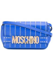 Moschino Studded Letters Crossbody Bag Blue