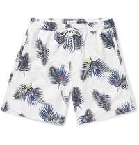 Saturdays Surf Nyc Wide Leg Long Length Printed Swim Shorts White
