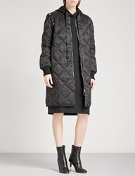 Moandco. Longline Quilted Satin Down Bomber Jacket Black