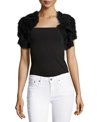 Red Valentino Textured Ruffled Short Sleeve Bolero Black