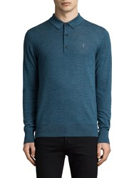 Allsaints Mode Merino Slim Knitted Polo Shirt Uniform Blue