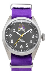 Jack Mason Brand 'East Carolina Pirates' Nato Strap Watch 44Mm Purple Black