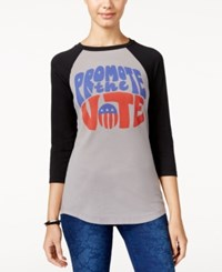 Mighty Fine Juniors' Vote Graphic Raglan Grey