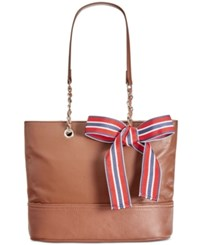 Giani Bernini Pebble Leather Chain Tote Only At Macy's Tobacco