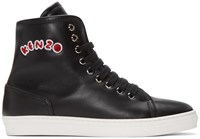 Kenzo Black Leather High Top Sneakers