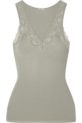 Hanro Lace Trimmed Ribbed Cotton Jersey Camisole Gray Green
