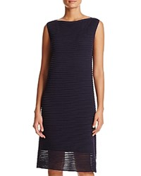 Lafayette 148 New York Sheer Hem Textured Stripe Dress Ink
