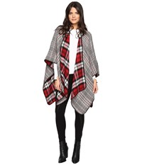 Steve Madden Tartan Plaid Reversible Ruana Red Women's Clothing