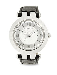 Versace Stainless Steel And Leather Strap Analog Watch Black