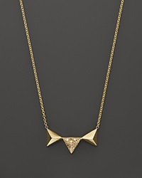 Zoe Chicco 14K Yellow Gold Three Triangle Pyramid Pendant Necklace With Diamonds .05 Ct. T.W. Gold White