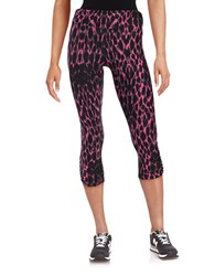 Kensie Patterned Ruched Leggings Pink