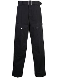 Givenchy Belted Straight Leg Trousers Black