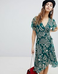 Soaked In Luxury Printed Wrap Ruffle Dress Storm Green